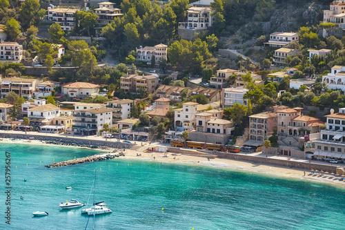 Aerial view of Port de Soller, Mallorca, Spain.