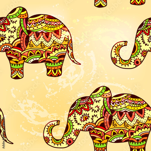 fototapeta na ścianę Seamless bright ethnic pattern with elephant