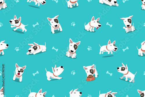 fototapeta na ścianę Vector cartoon character bull terrier dog seamless pattern for design.