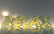 relax glass text on reflective calm water surface with epic sky background - 257974841