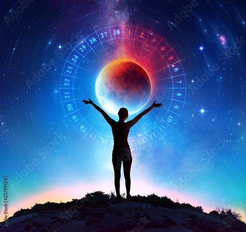 Leinwandbild Motiv Menstruation Cycle - Young Woman With Lunar Calendar