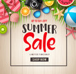 Summer sale vector banner background. Summer sale discount text in empty space with beach elements in wooden textured background for summer seasonal promotion. Vector illustration.