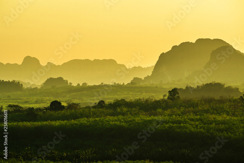 landscape Mountain with sunset in Krabi Thailand - 258016611