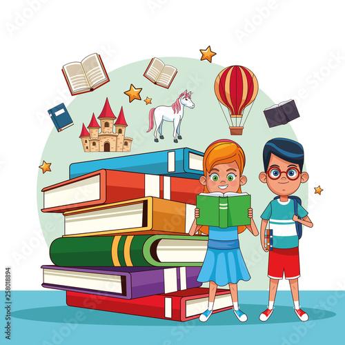 Kids reading fairy tales - 258018894