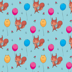 Colorful seamless pattern with cute woodland animals in doodle style. Childhood vector background. © olga_a_belova