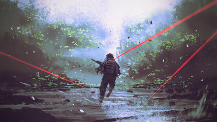 soldiers running away from the enemy's attack, digital art style, illustration painting © grandfailure
