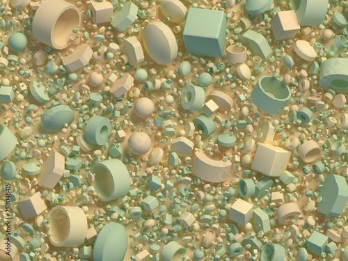 background, random geometric objects 3d render - 258048415