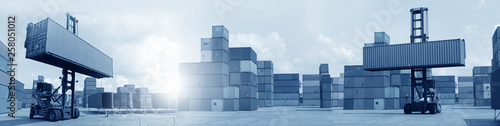 Multiple exposures of business shipping, logistics, industry background overall. New truck fleet with container depot as for shipping and logistics transportation industry. - 258051012