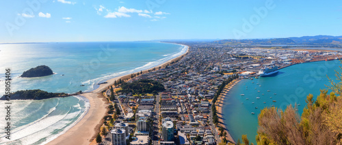 Aerial panoramic view from mount Maunganui, New Zealand - 258051406