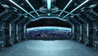 Leinwandbild Motiv Dark blue spaceship futuristic interior with window view on planet Earth 3d rendering
