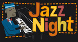 """Jazz night, pianist. Retro style illustration of a man playing the piano. Next to it, the phrase """"Jazz Night"""" is written."""