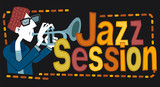 """Jazz session, trumpet. Retro style illustration of a man playing the trumpet. Next to it, the phrase """"Jazz Session"""" is written."""