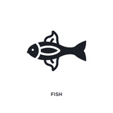 fish isolated icon. simple element illustration from nautical concept icons. fish editable logo sign symbol design on white background. can be use for web and mobile