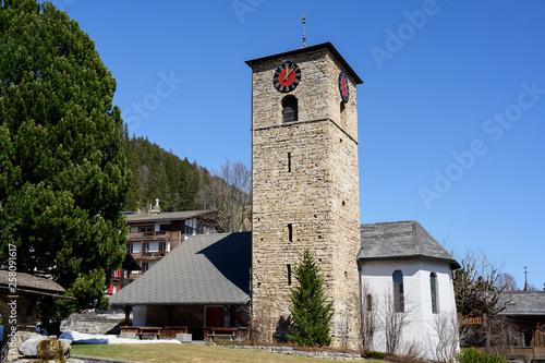 canvas print picture Reformierte Kirche, Adelboden, Berneroberland, Schweiz