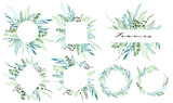 Set of leaf frames and wreath with botanical elements. Vector