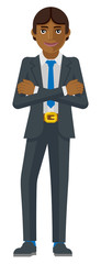 A handsome Asian business man with his arms crossed mascot concept in a flat modern cartoon style © Christos Georghiou