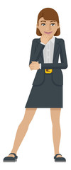 A business woman thinking with her hand on her chin mascot concept in a flat modern cartoon style © Christos Georghiou