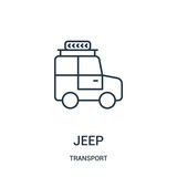 jeep icon vector from transport collection. Thin line jeep outline icon vector illustration.