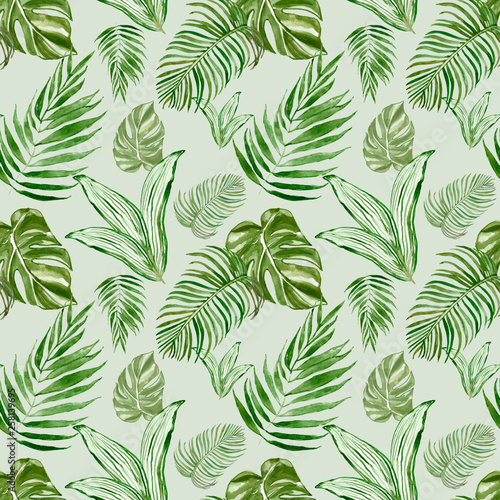 Watercolor tropical leaves and plants seamless pattern. Exotic green palm leaves, monstera leaf on light green background. Decorative botanical summer print. Great for textile design, cards, wrapping. © Anna