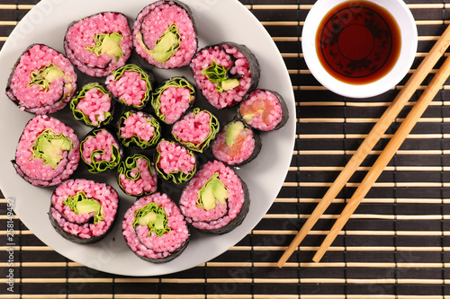 vegetarian sushi and soy sauce