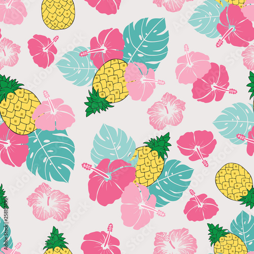 Seamless pattern pineapples hibiscus and tropical leaves illustration © VectorJade