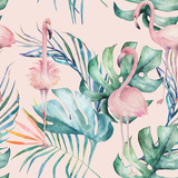 Tropical seamless pattern with flamingo and leaves. Watercolor summer print. Exotic hand drawn illustration - 258152091