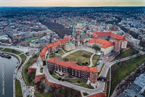 Aerial drone view on Cracow and Wawel Castle.
