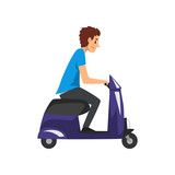 Young man riding scooter vector Illustration on a white background