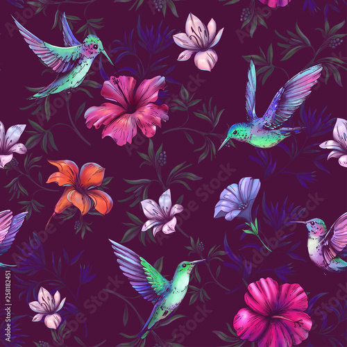 Seamless pattern with hummingbirds and tropical plants - 258182451