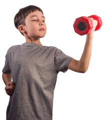 Cute smart boy with red dumbbell on white background © Alex Shevchenko