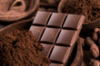 Chocolate bar, candy sweet, cacao beans and powder - 258202087