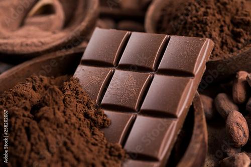 fototapeta na ścianę Chocolate bar, candy sweet, cacao beans and powder