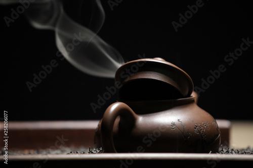 Black tea teapot smoke nobody  © jonicartoon