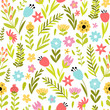 Spring floral seamless pattern - 258234490