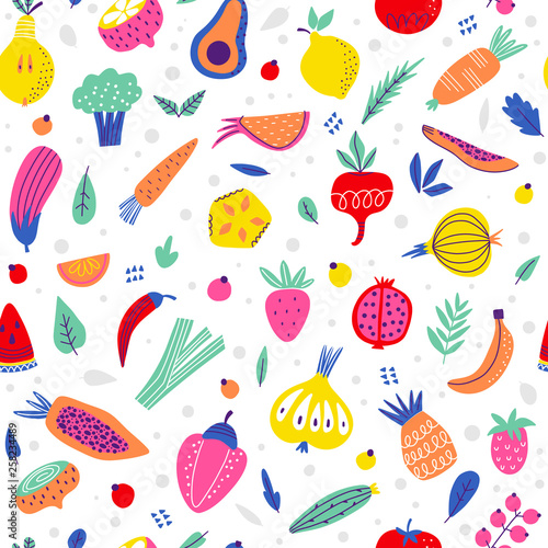 Background with bright vegetables and fruits - 258234489
