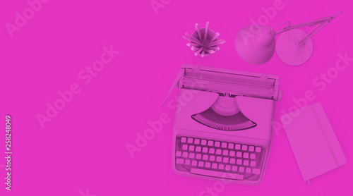 isolated typewriter, desklamp, notebook abd pens on white table - 258248049