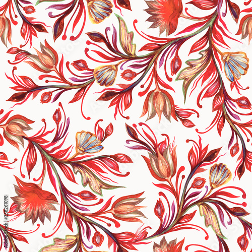 Decorative watercolor seamless pattern with stylized flowers.  - 258261098