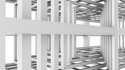 Abstract background of three-dimensional rectangular lines. 3d render