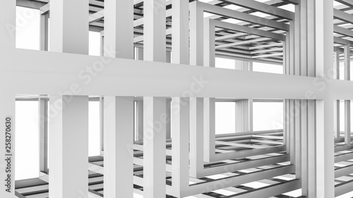 Abstract background of three-dimensional rectangular lines. 3d render - 258270630