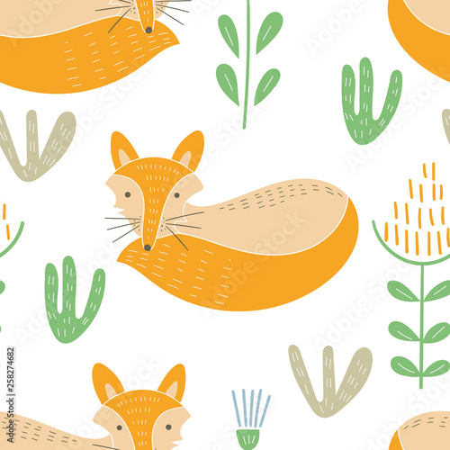 fototapeta na ścianę Vector Seamless Baby Pattern with Cute Forest Animals