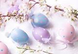 Multicolored easter eggs closeup.