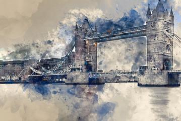 Watercolor painting of Tower Bridge  against stormy sky