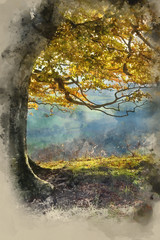 Watercolor painting of Stunning Autumn morning view over countryside landscape © veneratio