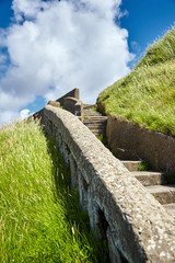 Old stone stairs on slope of green hill. Sunny summer day with blue sky and white clouds. Located in Biarritz, France © mikeosphoto