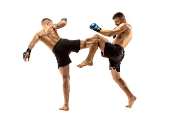 MMA. Two professional fightesr punching or boxing isolated on white studio background. Couple of fit muscular caucasian athletes or boxers fighting. Sport, competition, excitement and human emotions
