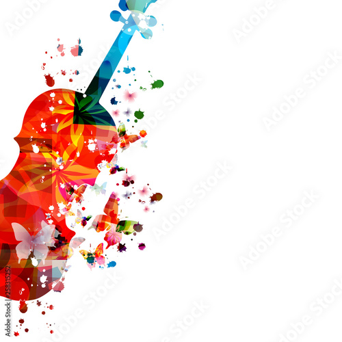 Colorful violoncello with butterflies isolated vector illustration design. Music background. Music instrument poster with butterflies, music festival poster, live concert events, party flyer © abstract