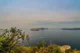 Beautiful landscape with sea view of the Nea Kameni,