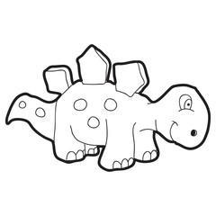 Cartoon doodle illustration of cartoon dinosaur for coloring book, t-shirt print design, greeting card