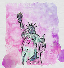 "Постер, картина, фотообои ""Pen and ink sketch of the Statue of Liberty"""