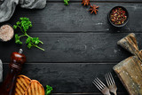 Serving the kitchen table. Black Food Background. Top view Free space for your text. Flat lay
